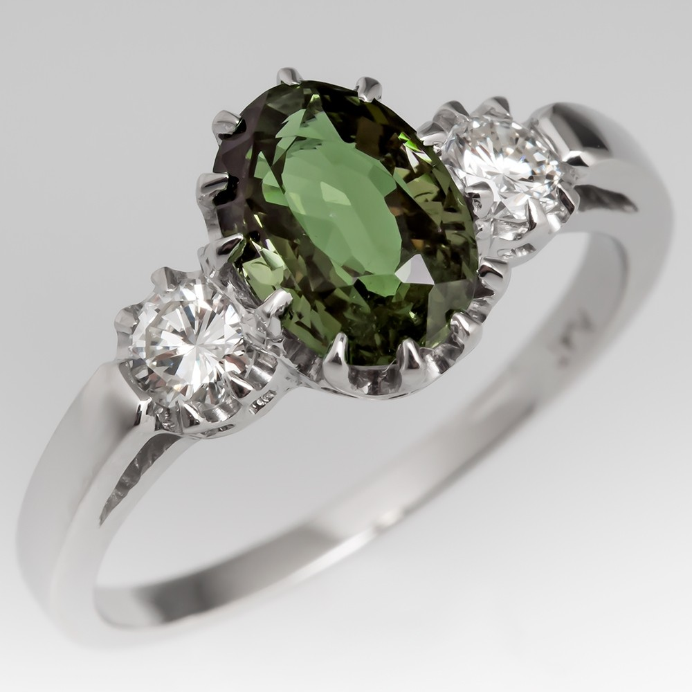 1.6 Carat Alexandrite Engagement Ring Platinum Diamonds Vintage