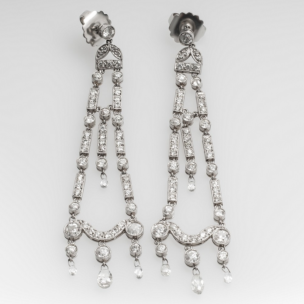 Edwardian Era Antique Chandelier Diamond Earrings Platinum