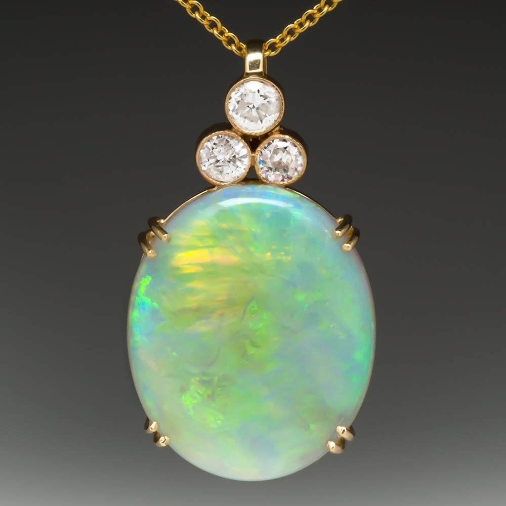 Shimmery Crystal Opal & Diamond Pendant Necklace 14K Gold
