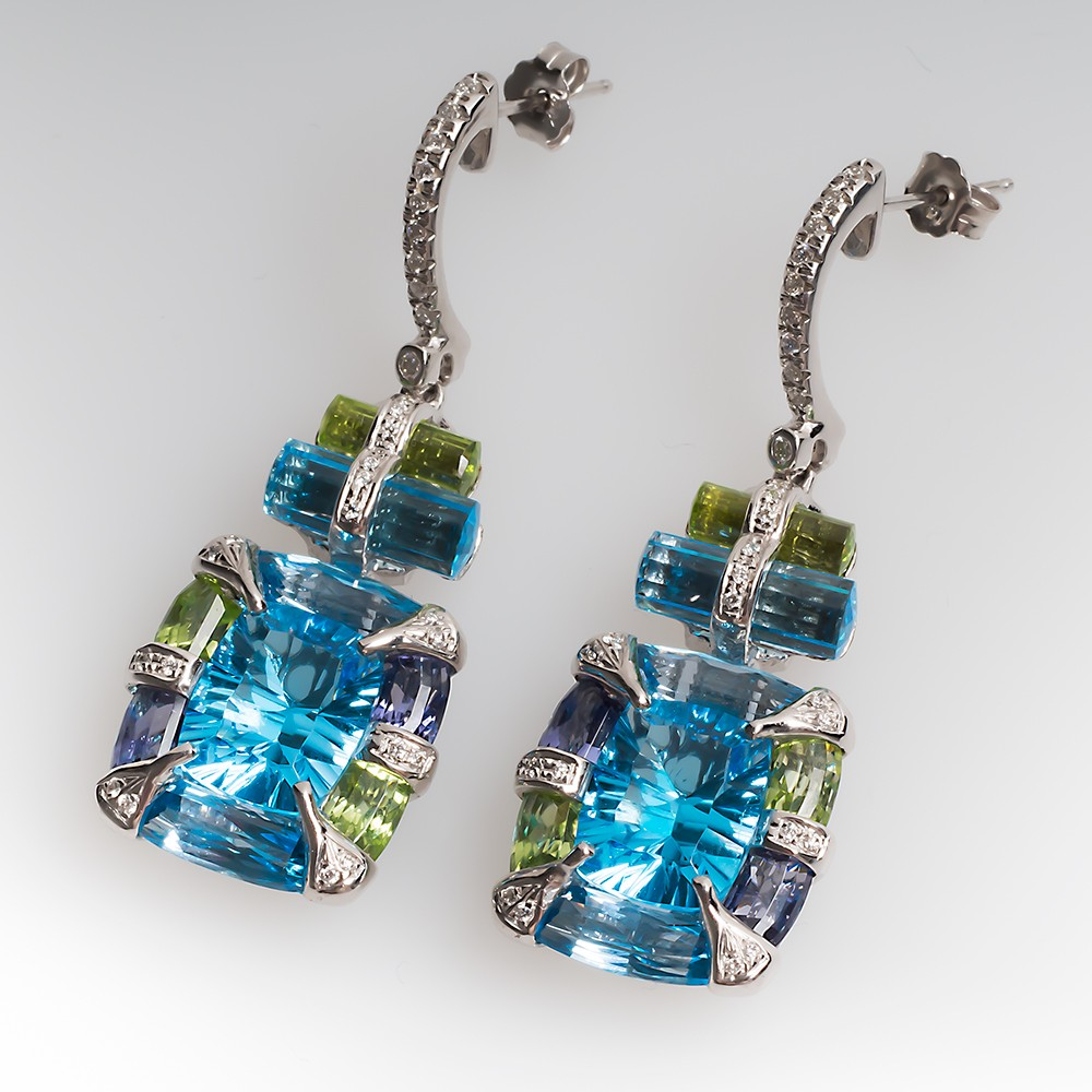 Bellarri Gemstone Drop Dangle Earrings 18K