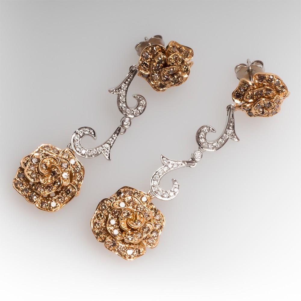 Flower Diamond Dangle Earrings 18K White & Rose Gold