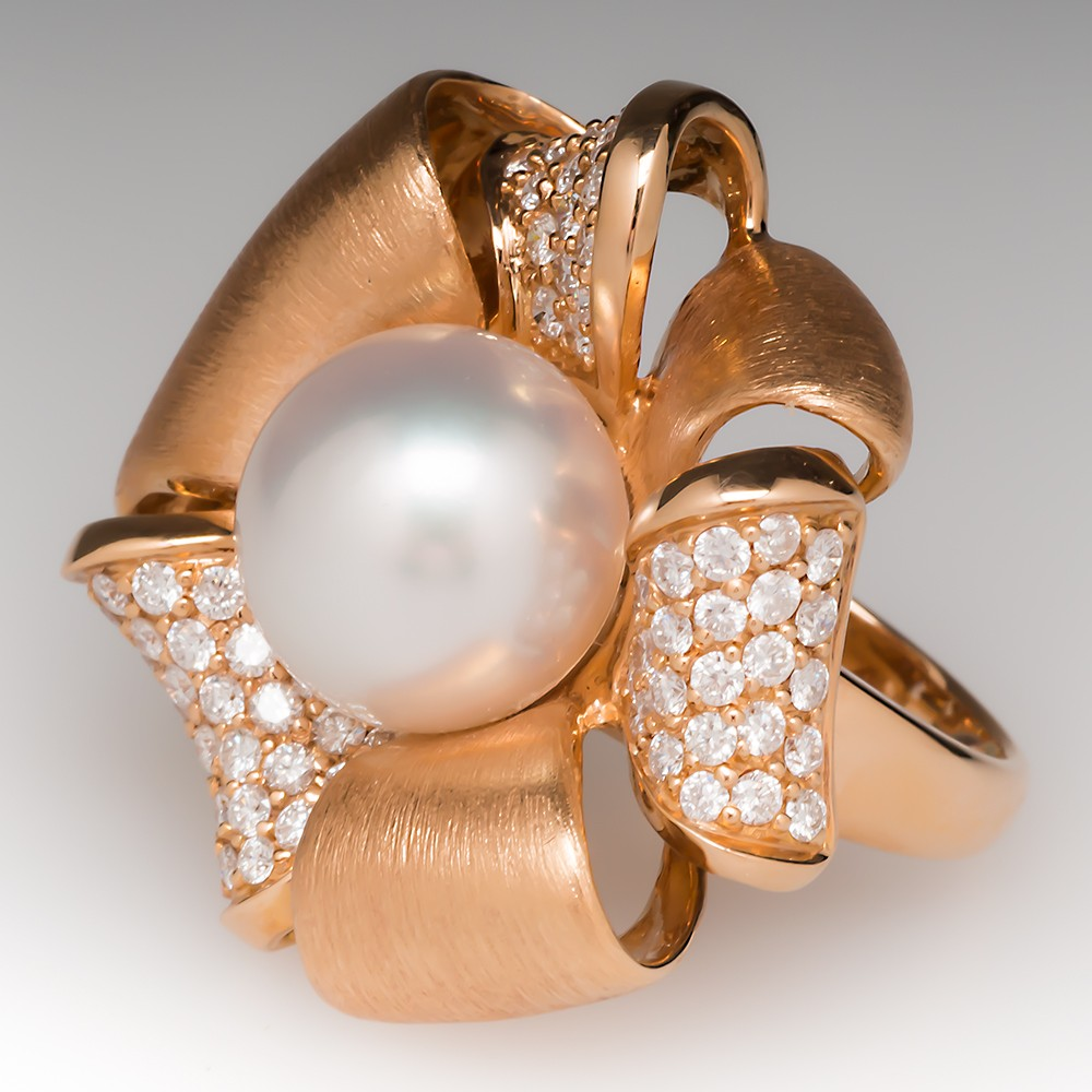Large South Sea Pearl Ribbon Cocktail Ring 18K Rose Gold