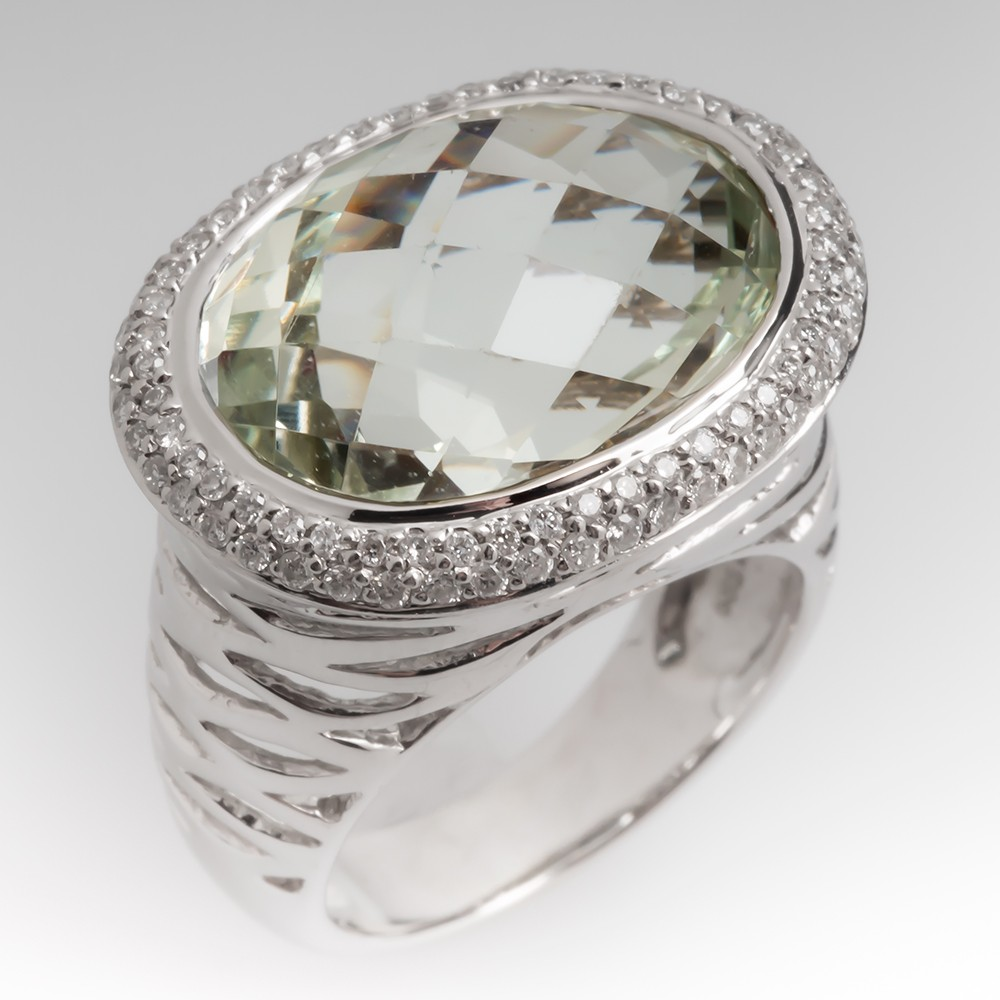 14 Carat Prasiolite & Diamond Halo Cocktail Ring 14K
