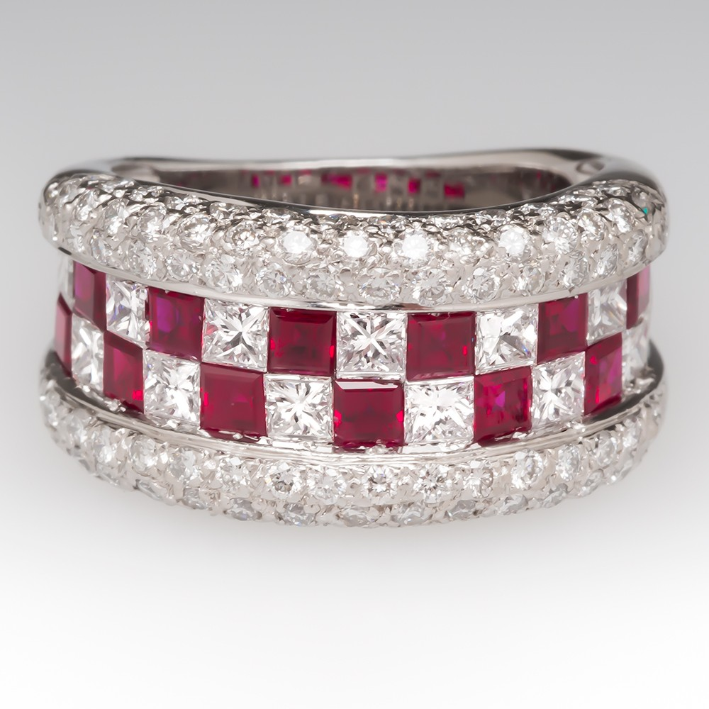 Estate Natural Ruby & Diamond Wide Band Ring 18K