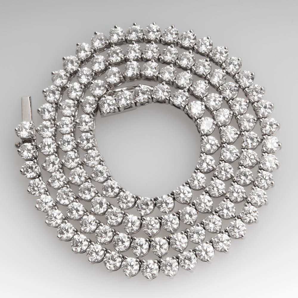 23 Carat Round Brilliant Diamond Tennis Necklace 18K