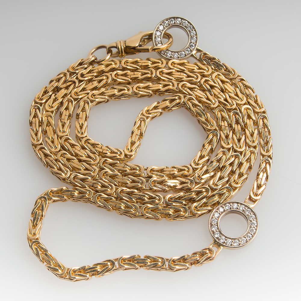 2 Station Diamond Link Chain Necklace 25-Inch