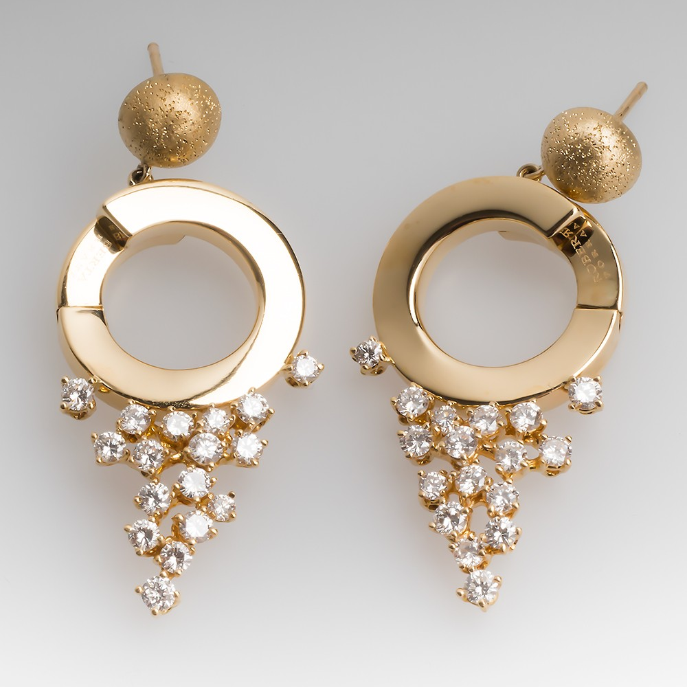 Roberta Porrati Diamond Drop Dangle Earrings 18K Yellow Gold