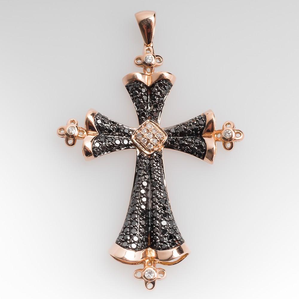 14K Rose Gold White & Black Diamond Cross Pendant