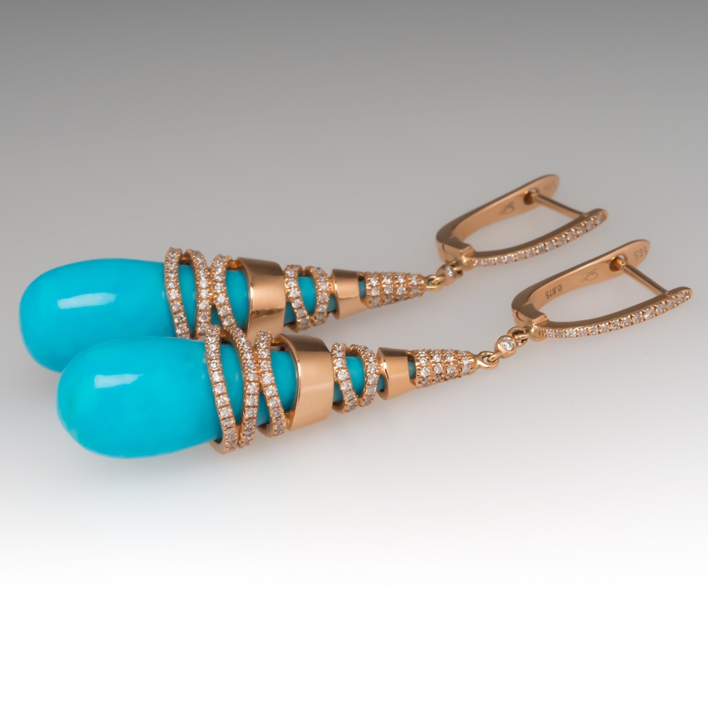 18K Rose Gold Turquoise & Diamond Drop Earrings