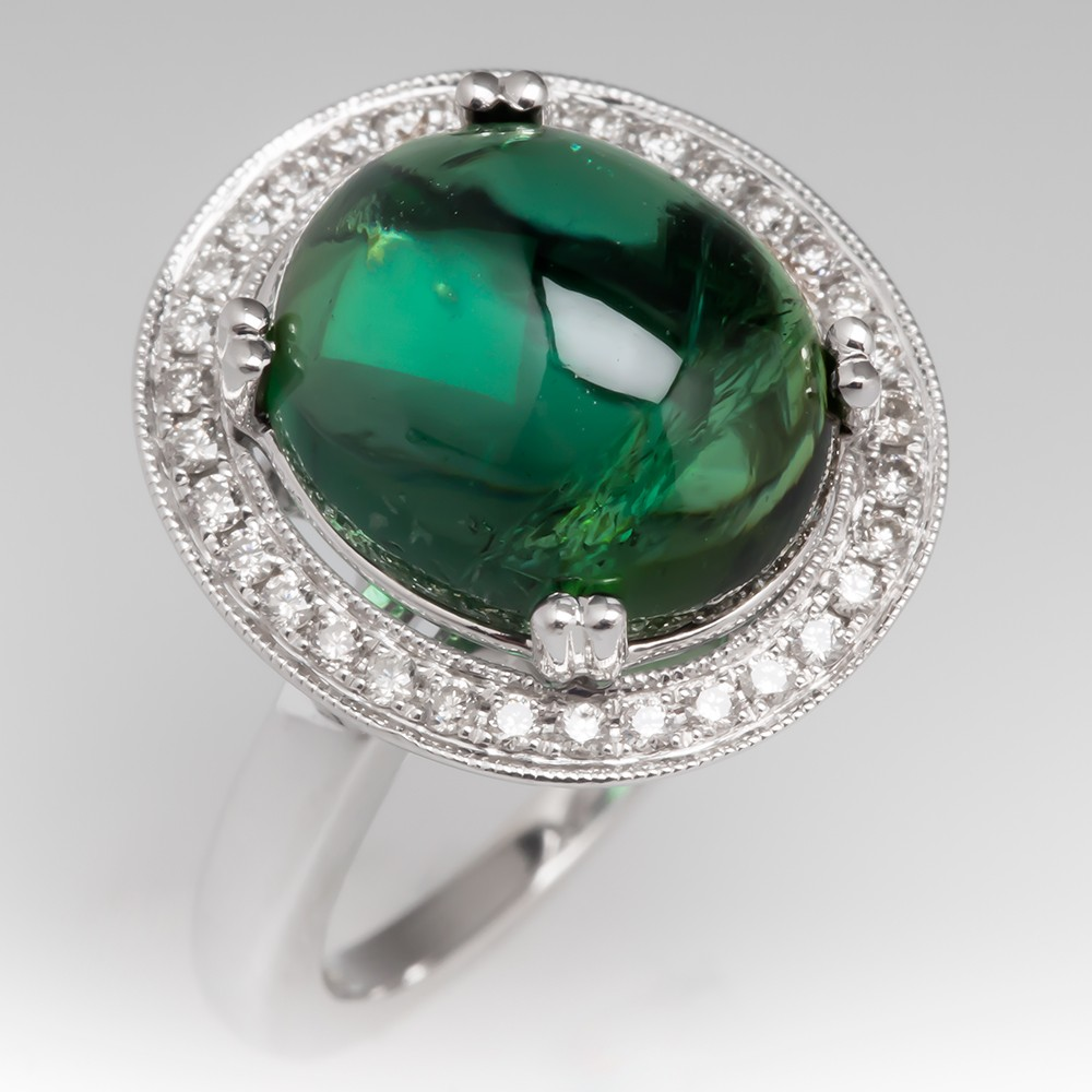 5 Carat Tourmaline Cabochon & Diamond Halo Ring 14K