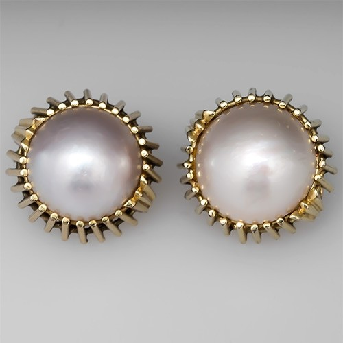 Vintage Estate Mabe Pearl Earrings