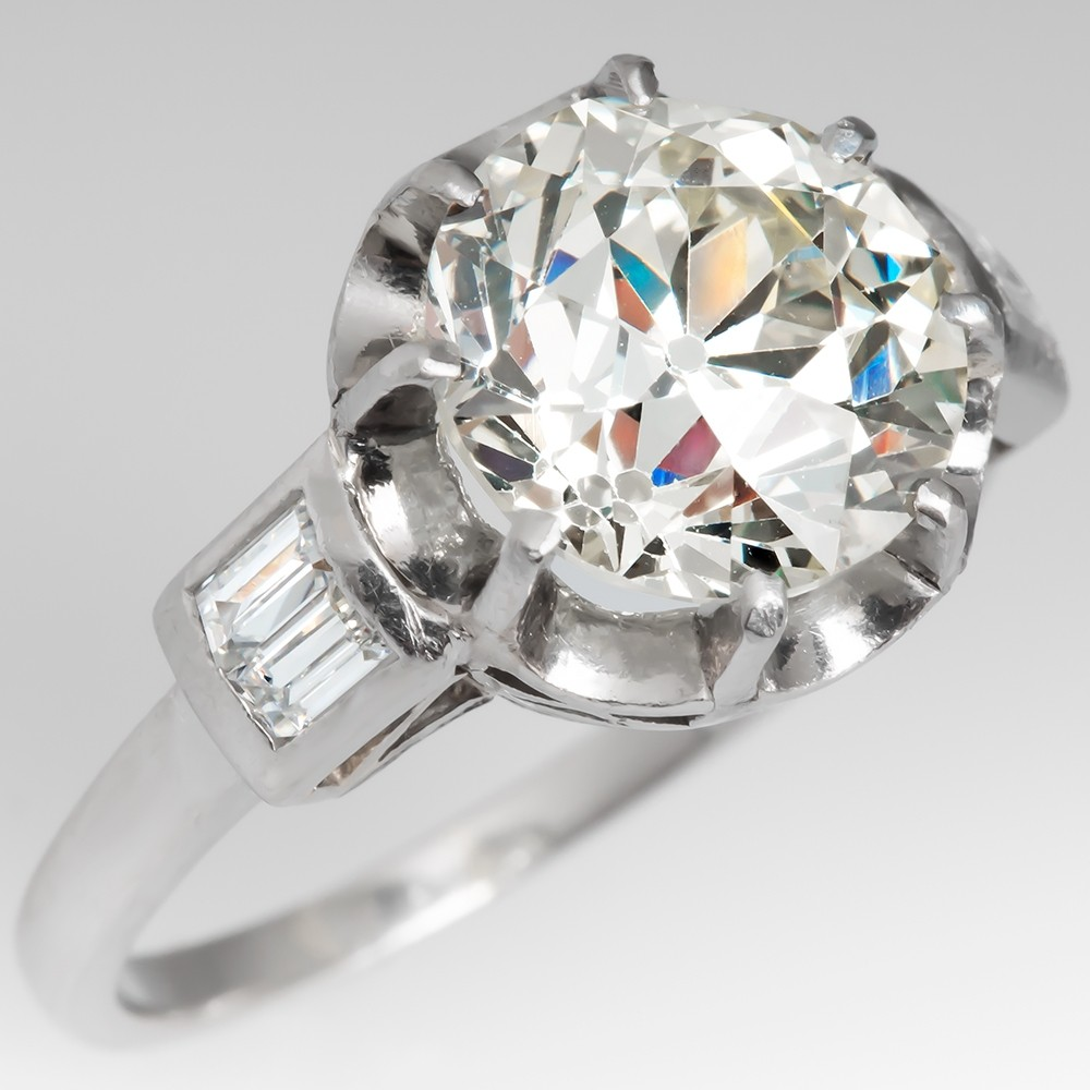 Antique Jewelry Art Deco 4 Carat Old European Cut Diamond Ring
