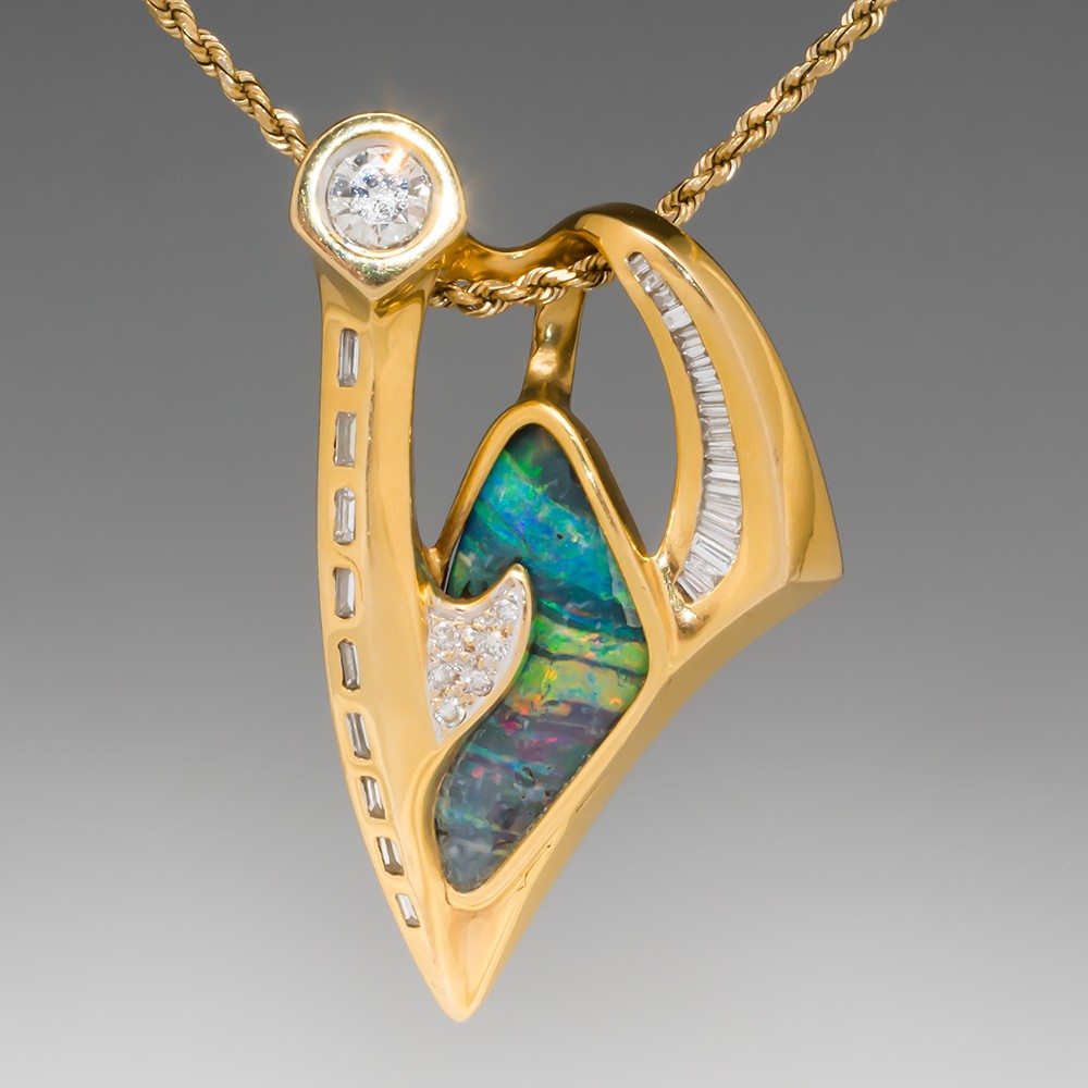 Freeform Boulder Opal & Diamond Pendant 18K Gold