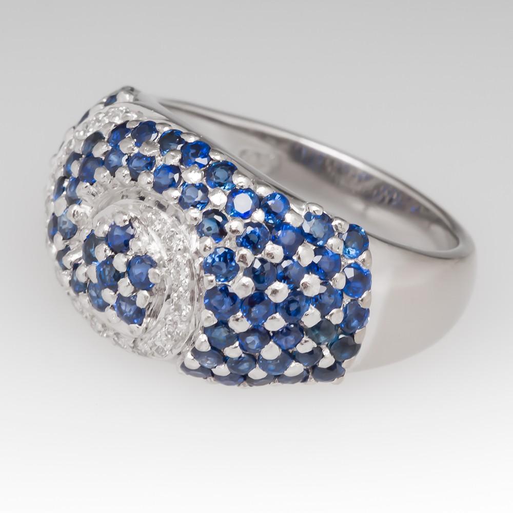 Ladies Pave Set Blue Sapphire and Diamond Swirl Ring 18K