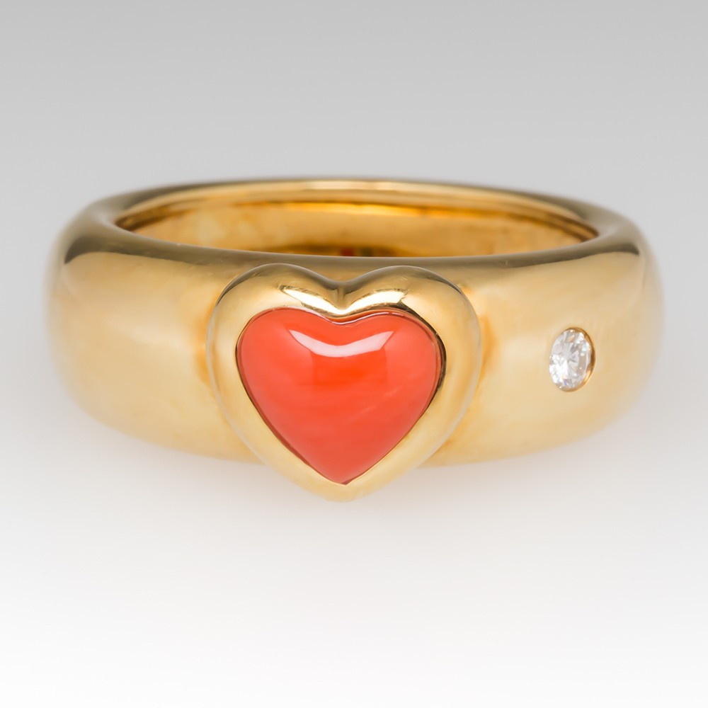 Heart Coral & Diamond Band Ring 18K Gold Lavin