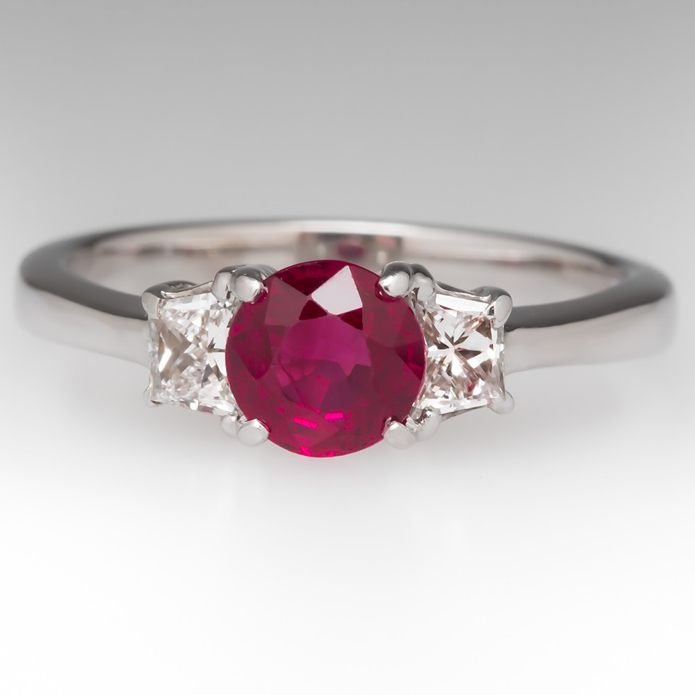 Low Profile .80 Carat Ruby & Trapezoid Diamond Ring 18K