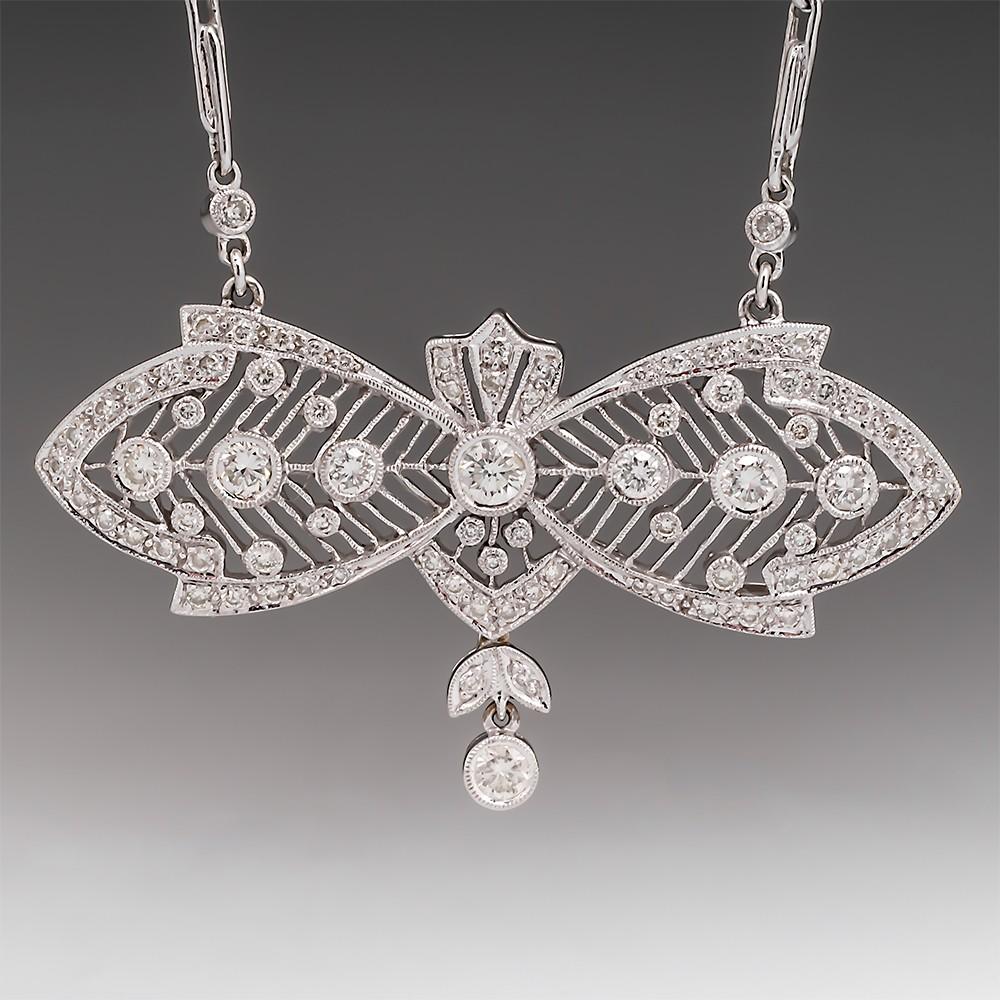 "18K Fancy Openwork Diamond Pendant Necklace 16"""