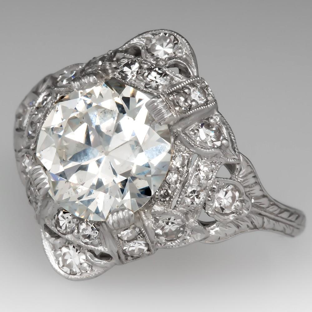 2 Carat Antique Diamond Engagement Ring Platinum Circa 1910