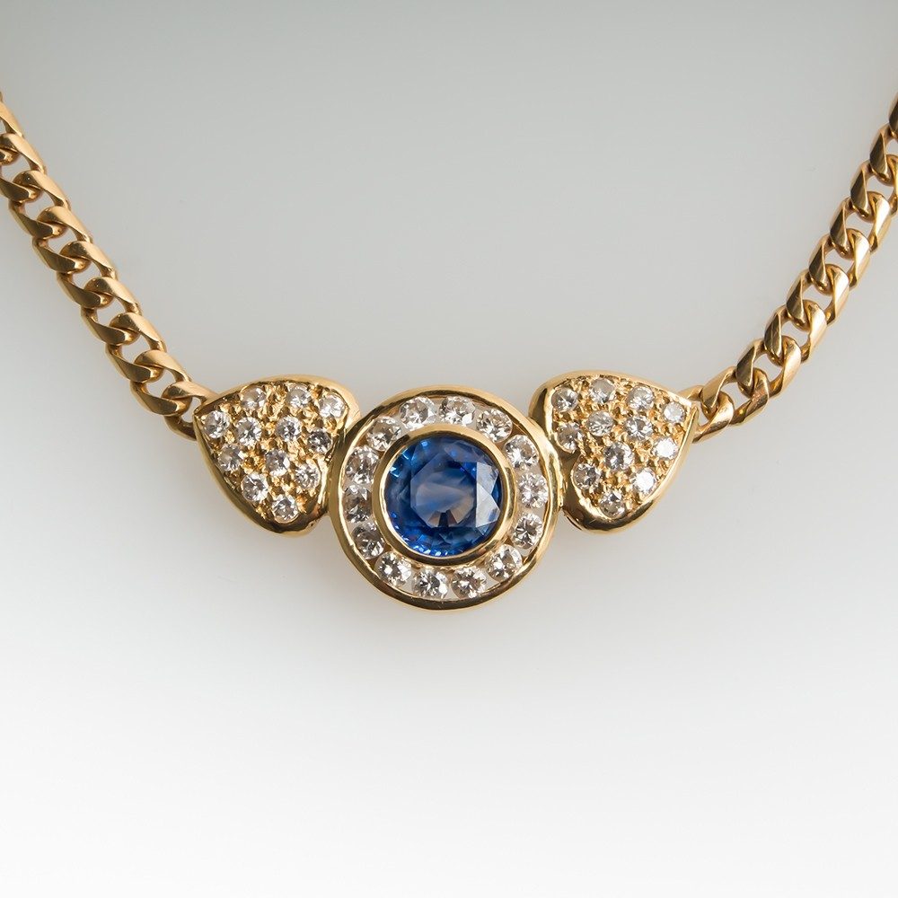 Blue Sapphire & Diamond 16-Inch Necklace 18K Gold