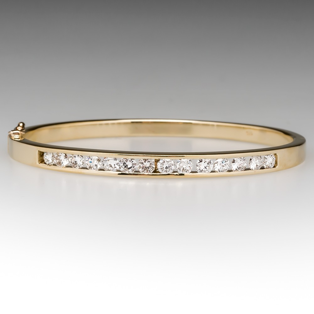 2.2 Carat Channel Set Diamond Hinged Bangle Bracelet 14K