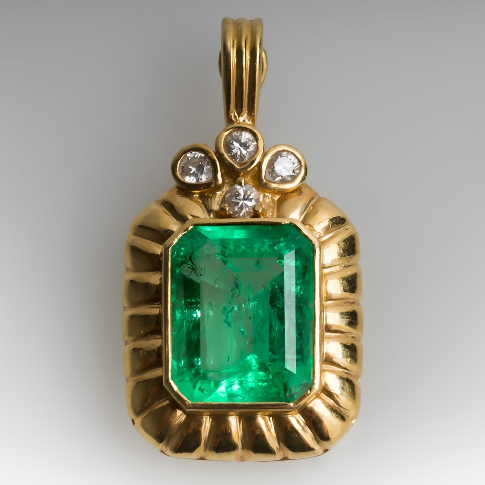 5.5 Carat Emerald & Diamond Enhancer Pendant 18K