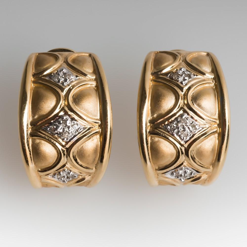 Matte & Polished 14K Yellow Gold Single Cut Diamond Huggie Earrings