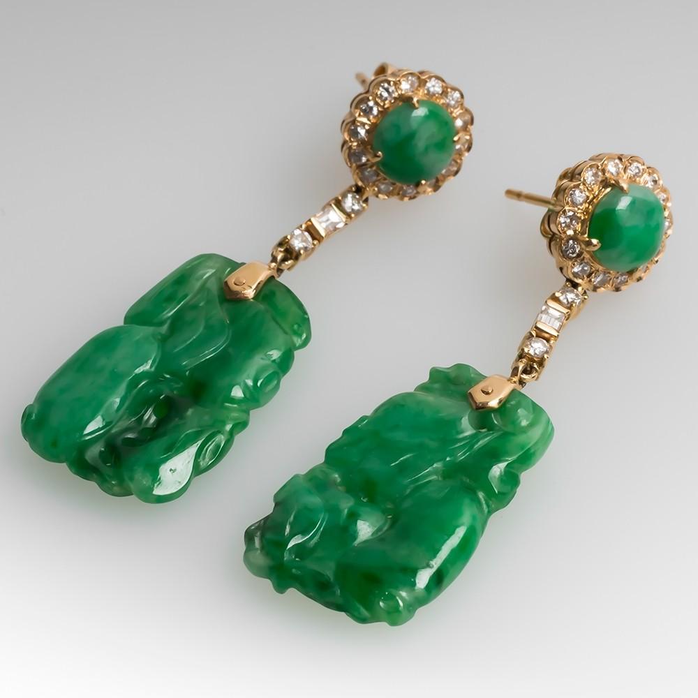 Carved Untreated Jadeite A-Jade & Diamond Dangle Earrings 14K