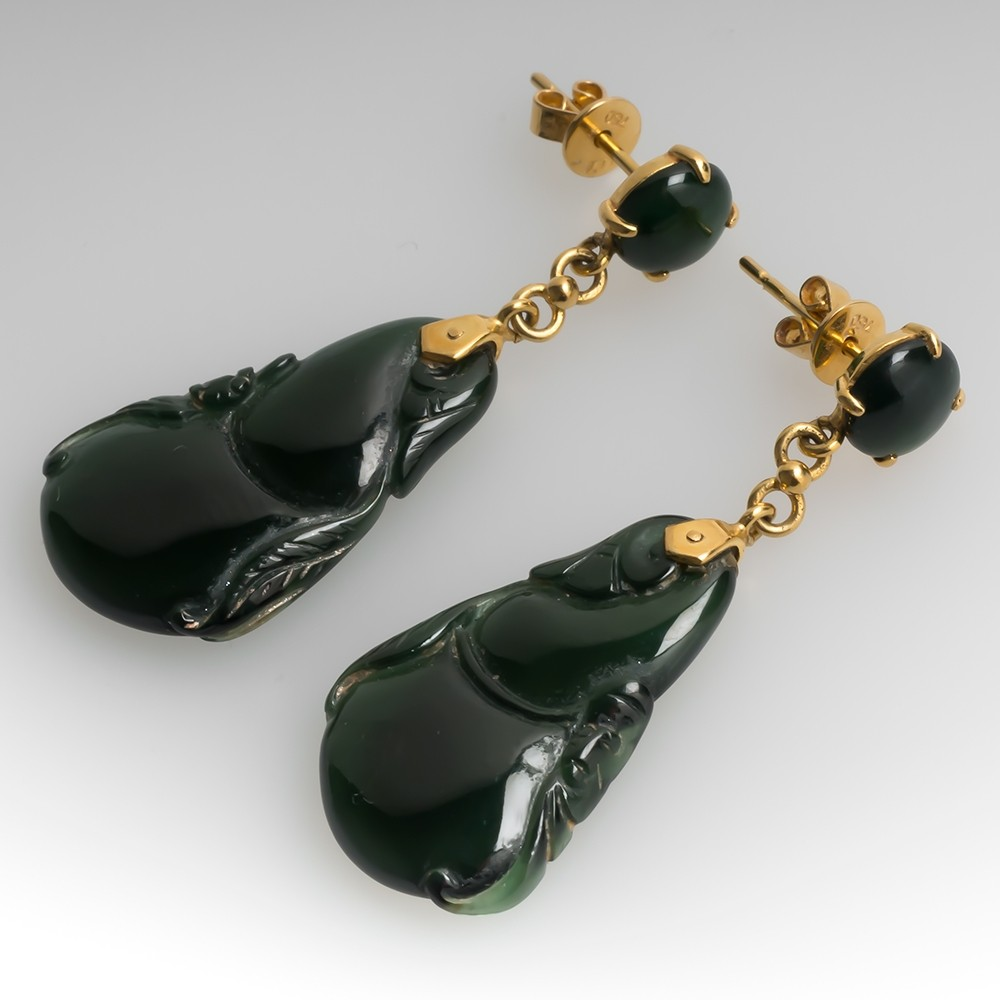 Very Dark Green Untreated Jadeite Jade Gourd Earrings 18K