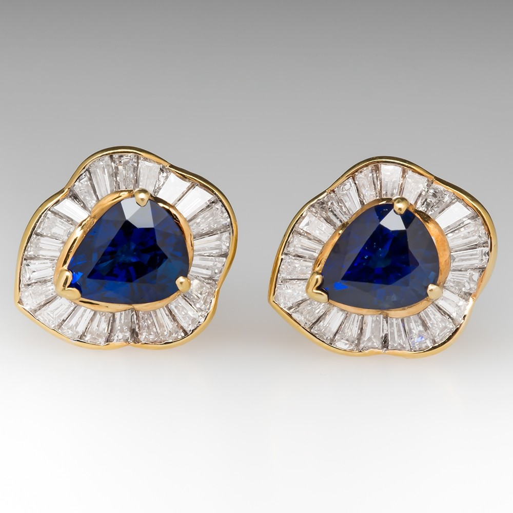 Rich Blue Sapphire & Diamond Ballerina Stud Earrings 18K