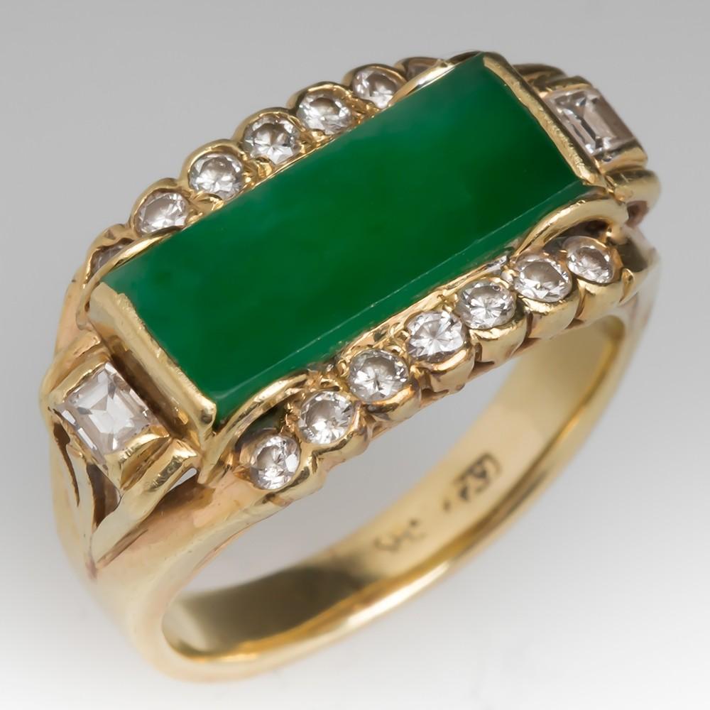 Grade A Jadeite Jade & Diamond Vintage 14K Gold Ring