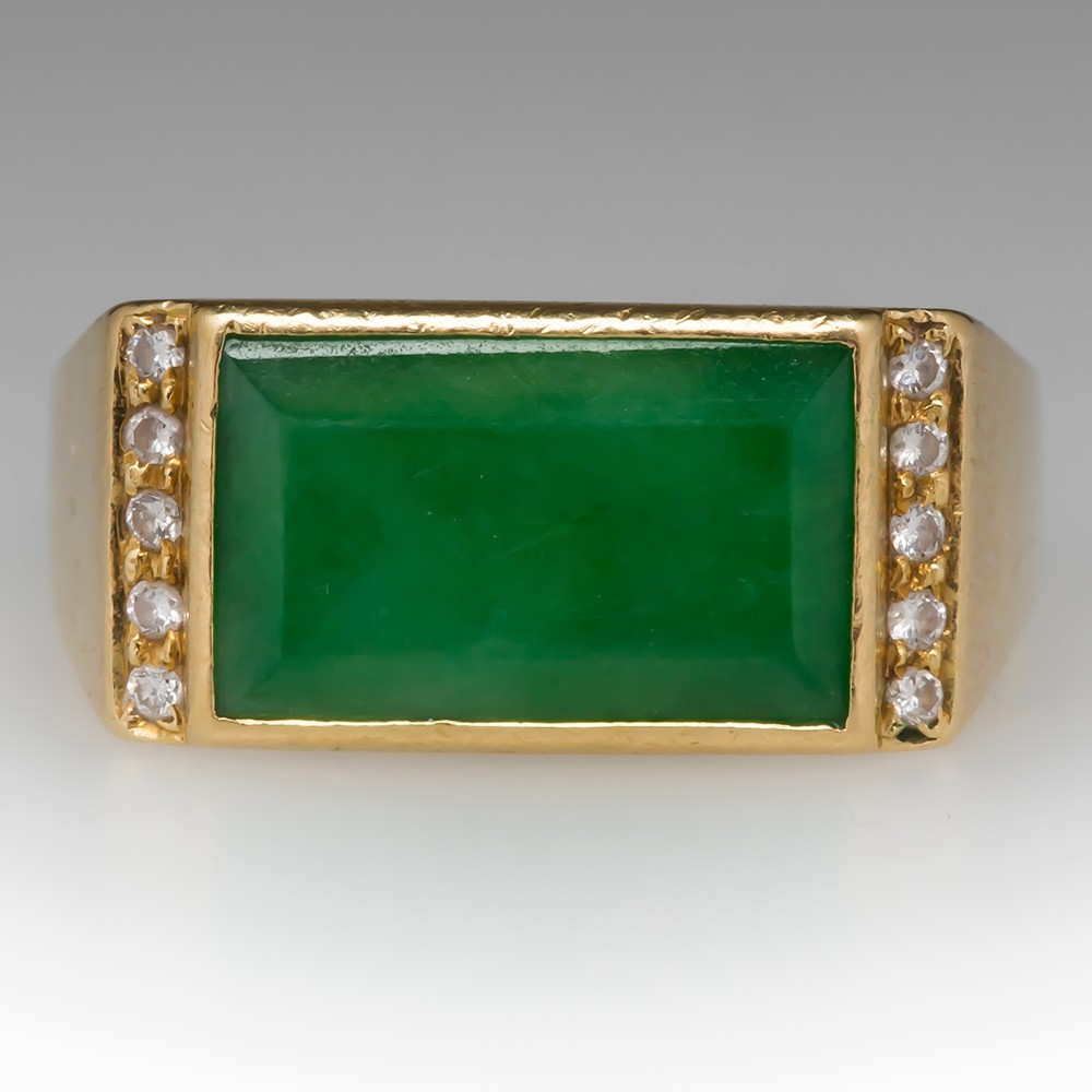 Vintage Mens Jade & Diamond Ring 18K Yellow Gold