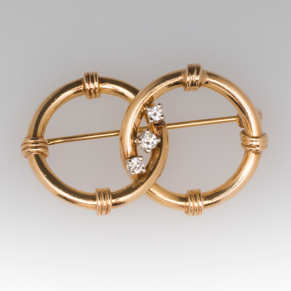 1960's Double Hoop Style 14K Yellow Gold & Diamond Brooch