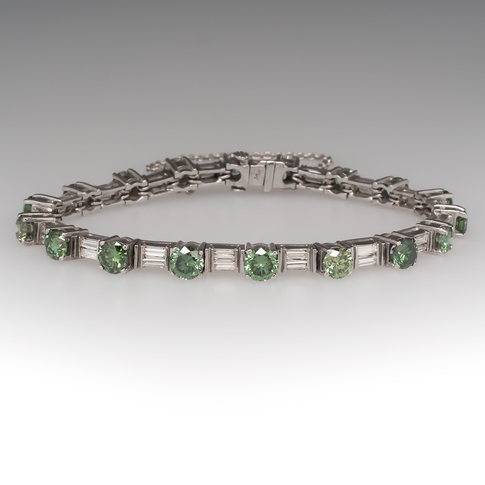 7 Carat Green Diamond Bracelet w/Baguette Accents