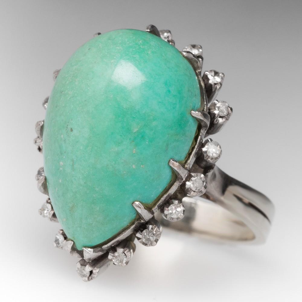 Vintage Turquoise & Diamond Cocktail Ring 14K