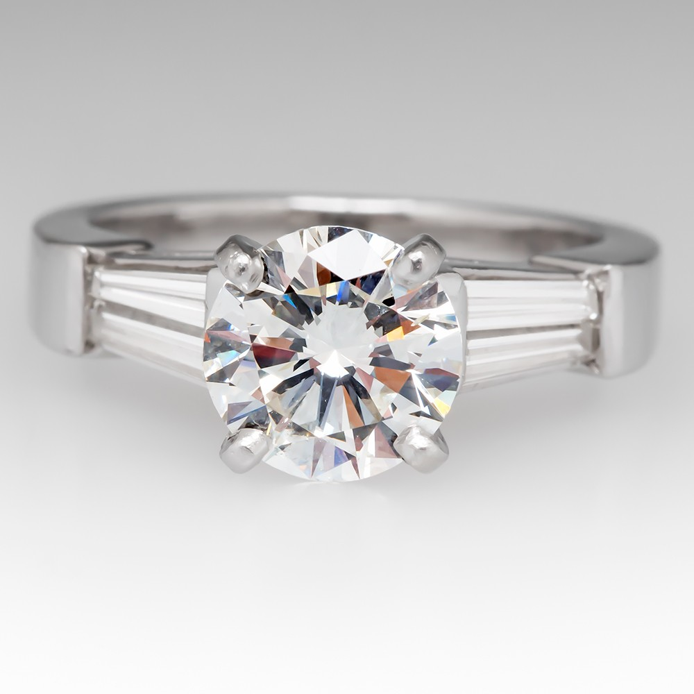 1.7 Carat Diamond Engagement Ring w/ Baguette Accents Platinum