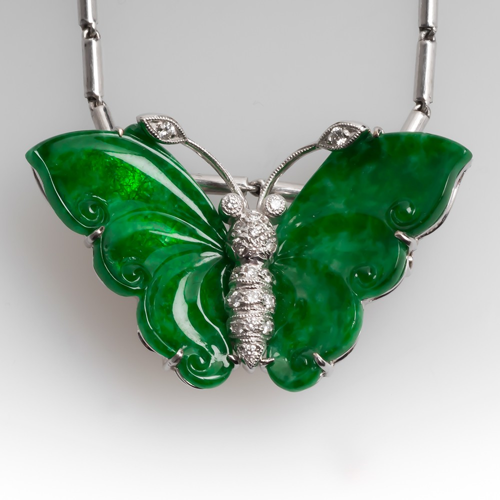 Carved Jadeite A-Jade & Diamond Butterfly Necklace