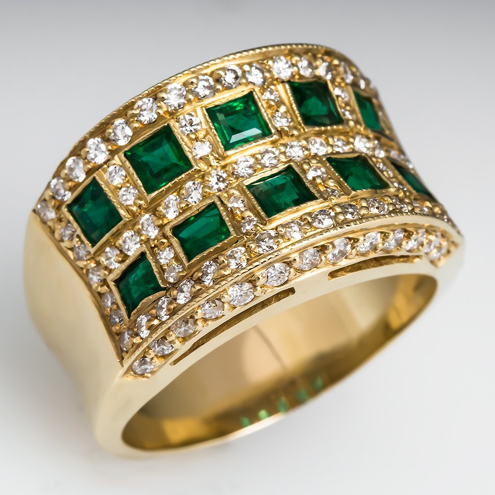 Estate Natural Emerald Wide Band Ring 18K Gold