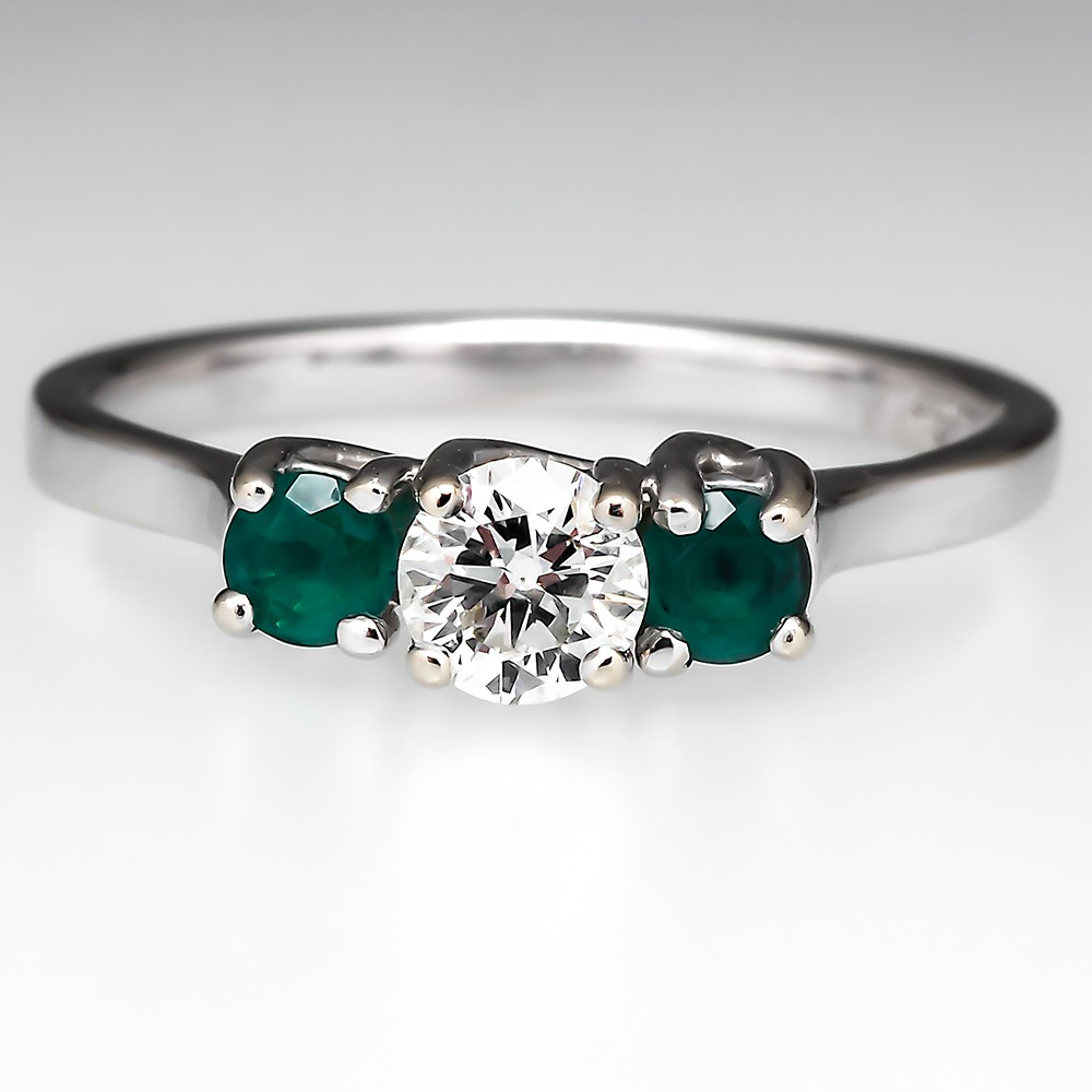Diamond Emerald Three Stone Engagement Ring