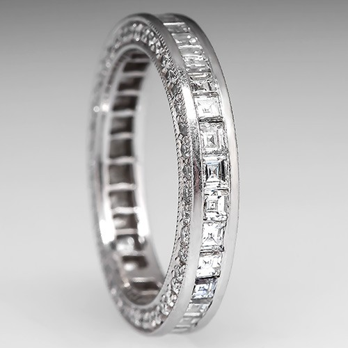 Square Step Cut Diamond Eternity Wedding Band Ring Platinum, Size 5