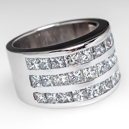 Wide Band Diamond Cocktail Ring