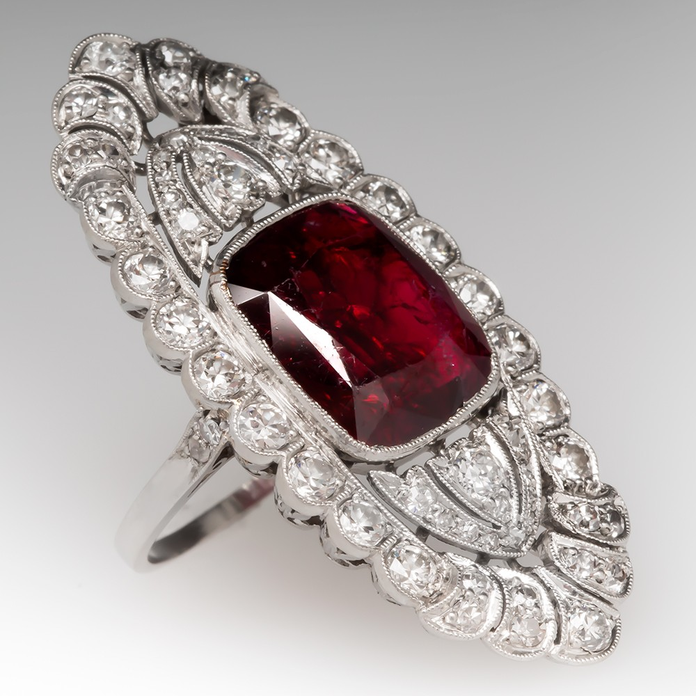 1910's Edwardian Untreated Red Spinel & Diamond Dinner Ring Platinum