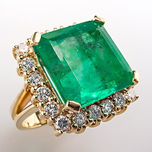 Natural Emerald & Diamond Cocktail Ring Solid 18K Yellow Gold