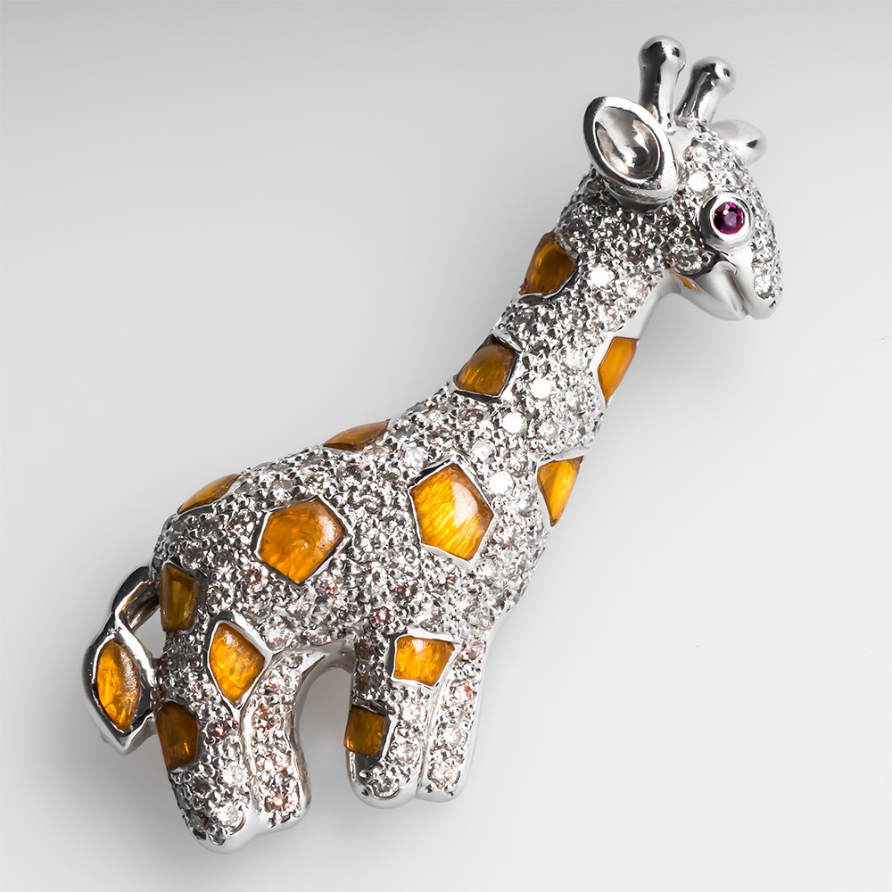 Diamond Giraffe Brooch