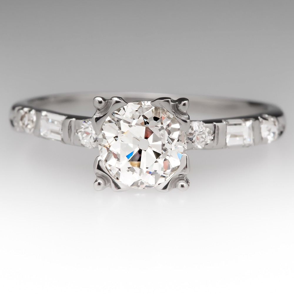 Old European Cut Diamond Fishtail Platinum Ring, Seattle Engagement Style