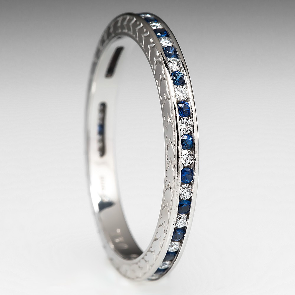 Diamond Sapphire Eternity Wedding Band Ring