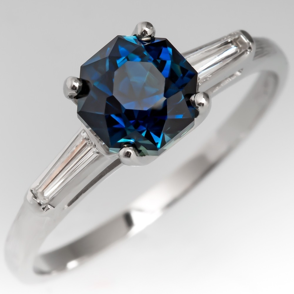 Green-Blue Sapphire Engagement Rings