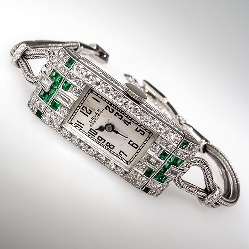 1930's Deco Gruen Emerald & Diamond Watch