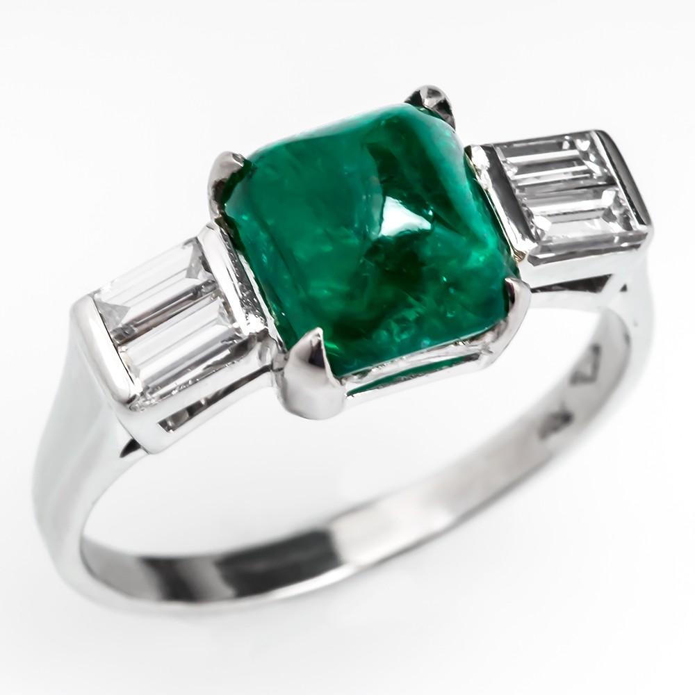 Square Cabochon Cut Emerald Ring w/ Diamonds 18K White Gold