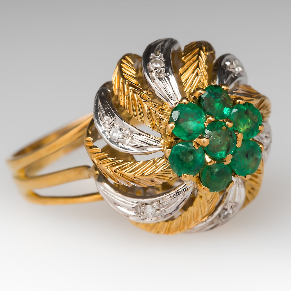 Emerald Diamond 1960's Cocktail Ring