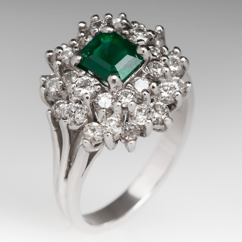 Natural Emerald & Diamond Cluster Ring 18K 1970's